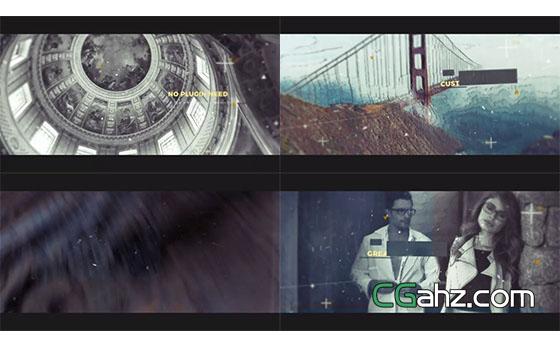 科技感视差分类图片展示片头AE模板
