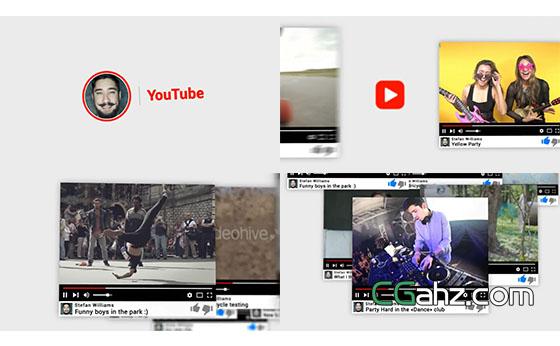 油管视频宣传包装片头展示AE模板