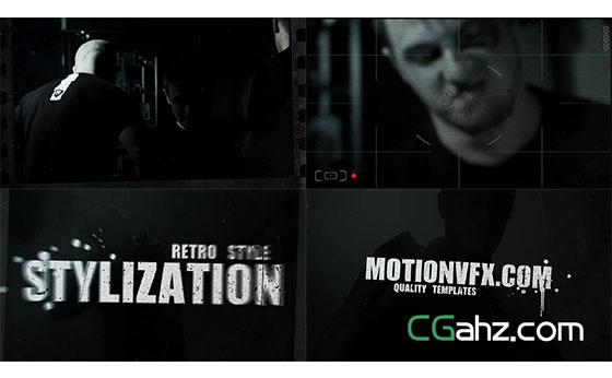 电影胶卷淡出字幕模糊转换视频AE模板