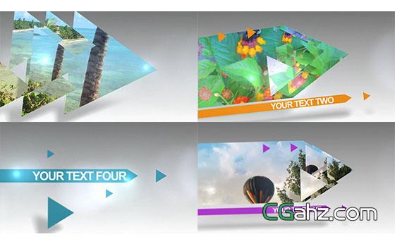 箭头屏幕切割特效转场幻灯片展示AE模板