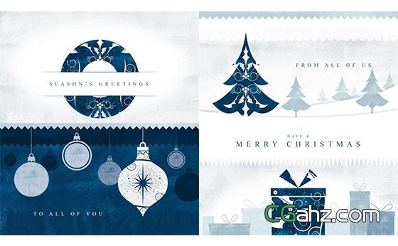 剪纸风格圣诞节片头动画包装展示AE模板