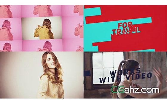 扁平化时尚文字标题视频开场展示AE