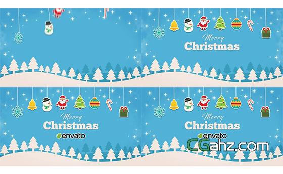 简短的卡通圣诞节开场动画AE模板
