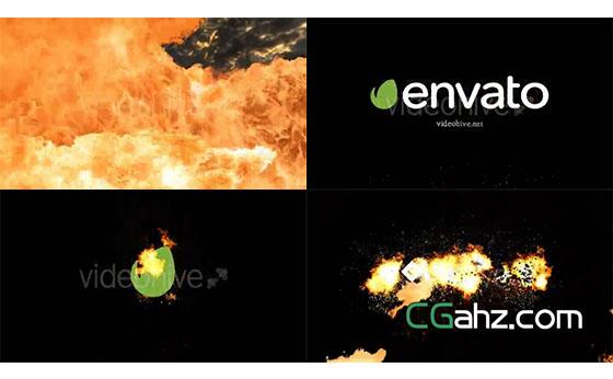震撼的火龙喷涌出燃烧着的logo标志AE模板