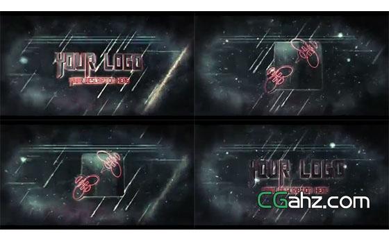 流星雨中震撼史诗般的标志演绎AE模板