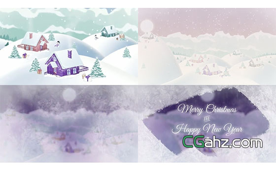 圣诞节小村落的卡通风景节日开场AE模板