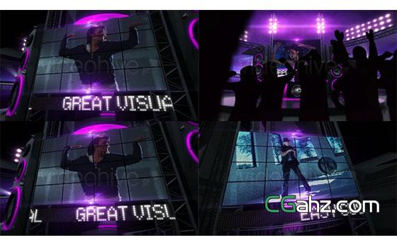 紫色风格大屏幕聚会AE模板