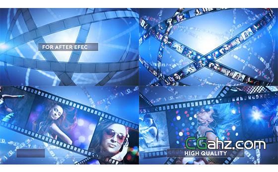 胶卷胶片电影图片包装片头展示AE模板