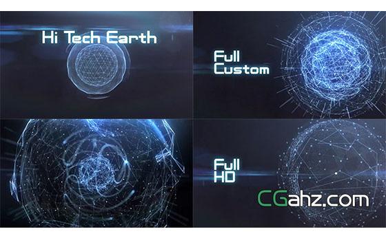 蓝色科技地球特效展示AE模板