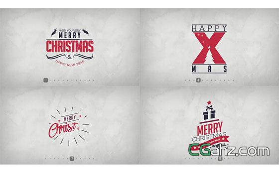 复古的圣诞节主题文字标签版式AE模板