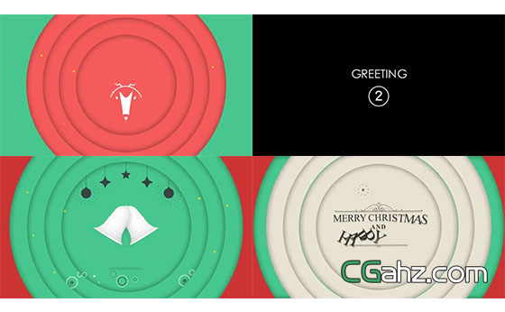 欢乐圣诞节的彩色祝福开场小动画AE模板