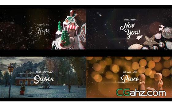 雪聚文字带来温暖的圣诞新年祝福AE模板