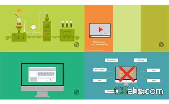 丰富多彩的商务营销解说MG动画AE模板