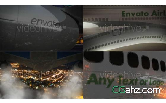 三维飞机航班Logo展示AE模板