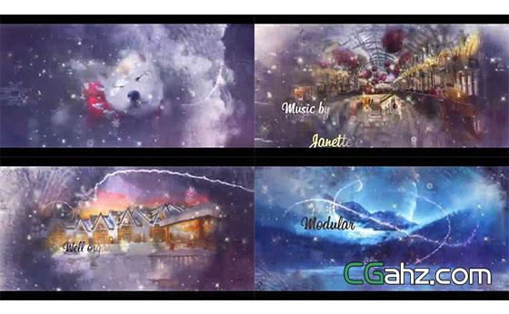 圣诞冬日主题图像视差特效AE模板