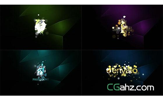 光斑闪烁渲染出金属光泽的logo标志AE模板