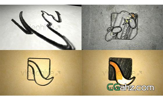 毛笔笔迹勾勒出logo标志的AE工程