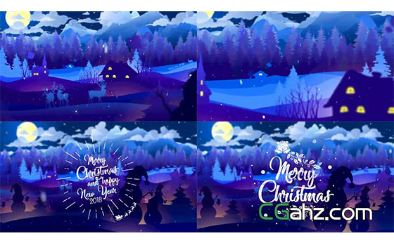 冬日夜晚村庄的蓝色圣诞节开场动画AE模板