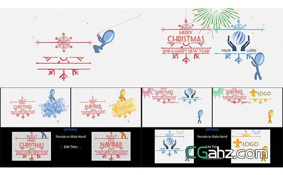 卡通火柴人为你揭开圣诞节的问候与祝福AE模板