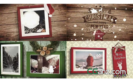 雪球击打墙壁上的圣诞相框AE模板