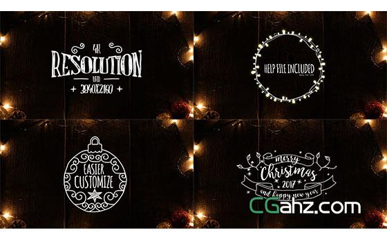 圣诞节文字标题动画展示AE模板