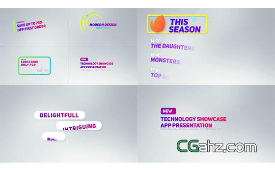 彩色活力清新电视栏目包装文字标题展示AE模板