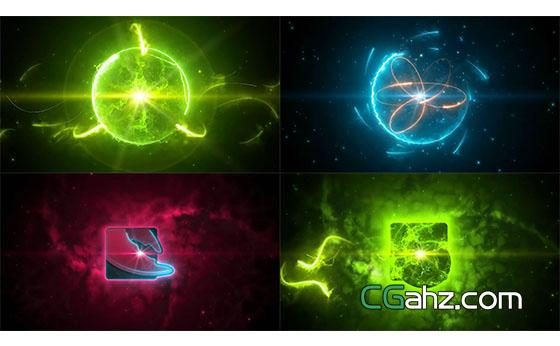 电流汇聚能量球爆炸Logo展示AE模板