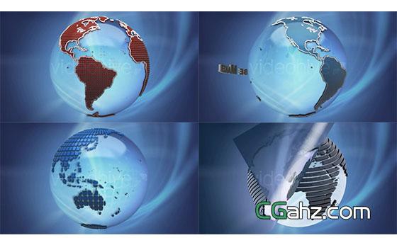 三维地球新闻栏目包装展示AE模板