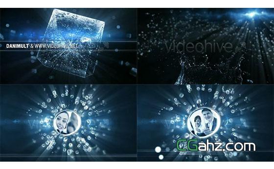 水珠粒子群冰块图片展示开场AE模板