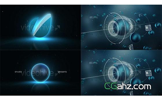 三维科技感细胞化学Logo动画展示AE