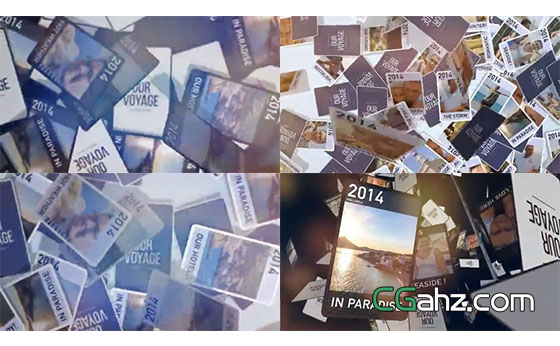 在空中簇拥飞行的卡片式照片图集AE模板