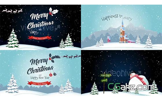 活泼的卡通风格圣诞节开场小动画AE模板