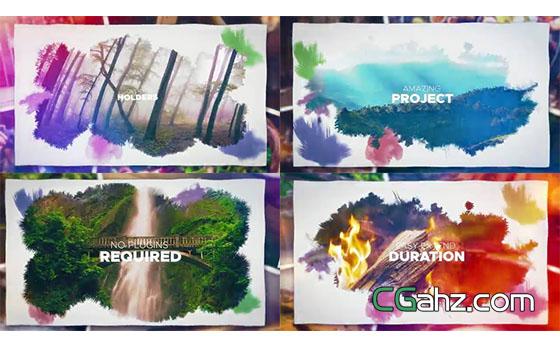 水彩晕染的图片幻灯展示效果AE模板