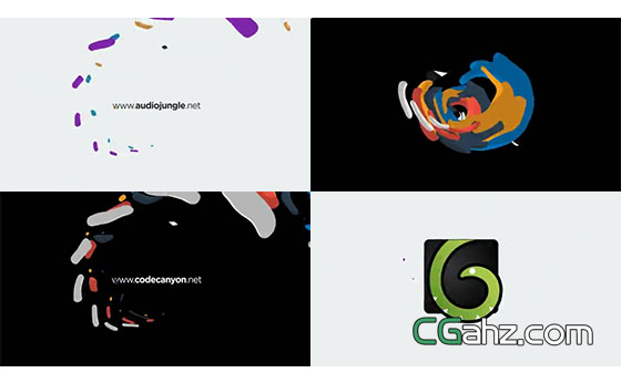 炫彩流体动画揭示出logo标志的AE模板