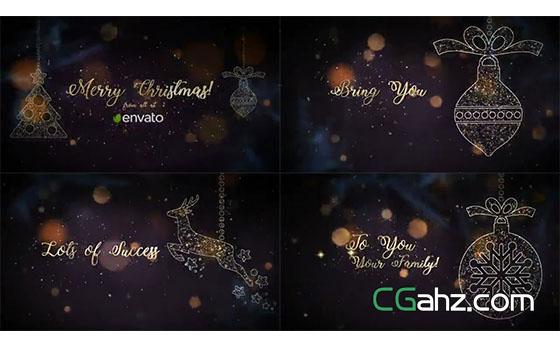 金沙粒子装饰的圣诞挂饰标题开场AE模板