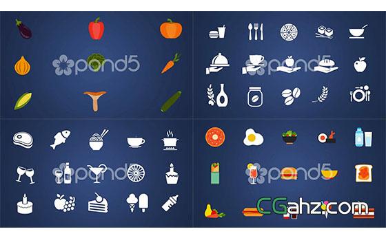 形状层制作的饮食主题图标动画AE模板