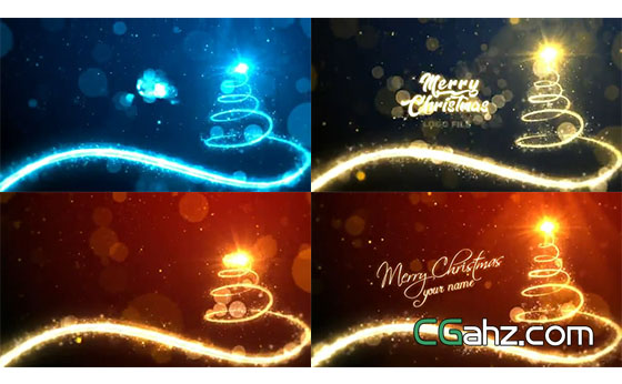 炫美粒子光束勾勒出闪闪发光的圣诞树AE模板