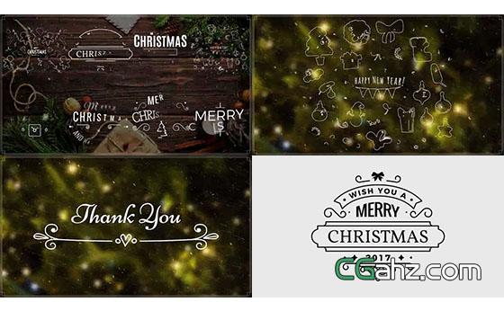 圣诞节主题文字标签版式AE模板