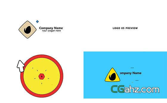 简单流畅的卡通logo揭示动画AE模板