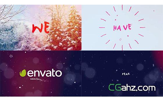 创意圣诞新年主题快闪式片头AE模板