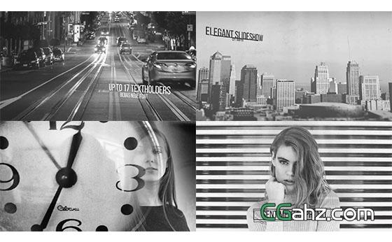 黑白回忆悲伤图片展示开场AE模板