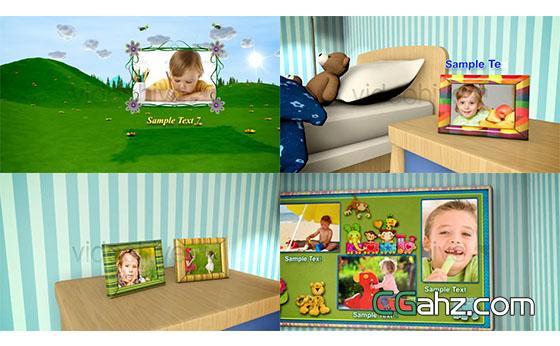 卡通儿童相册展示片头AE模板