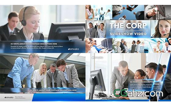 玻璃质感公司企业商务合作图片展示AE模板