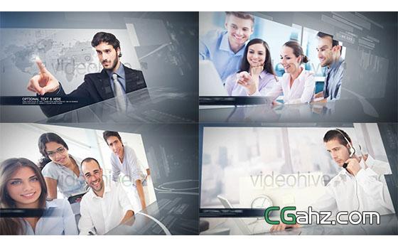 公司企业商务合作照片视频展示片头AE模板