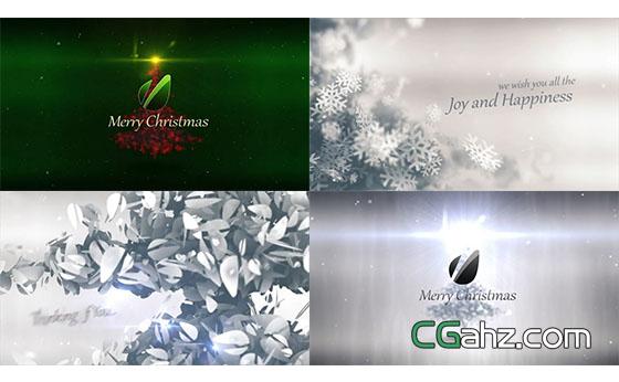 圣诞雪花树文字Logo动画展示AE模板