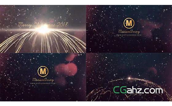 炫美壮观的粒子光线圣诞开场标题AE模板