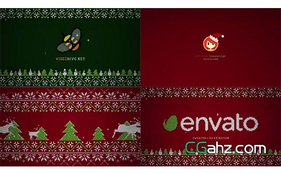 创意针织毛衣的圣诞节开场小动画AE模板