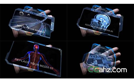 手中的全息可触摸显示器AE模板