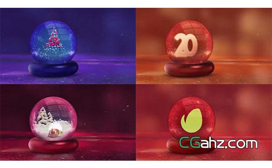 三维效果水晶玻璃球节日主题开场AE模板