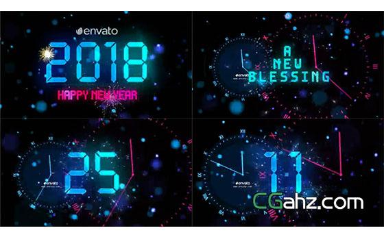 礼花中令人激动的新年跨年倒数计时AE模板